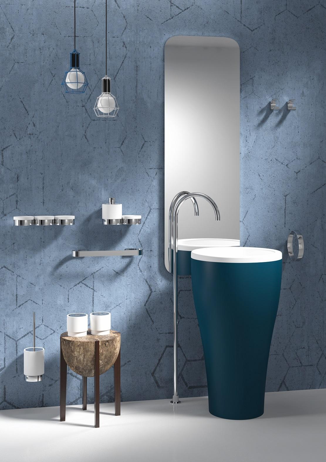 Accessori bagno in ottone ceramica vetroghiaccio for Regia accessori bagno